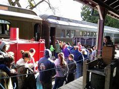 The cider press on the platform takes a break as passengers board the train, Take A Break, Take That, Halloween Train, Cider Press, Railway Museum, Train Rides, Platform, Seasons, Cars