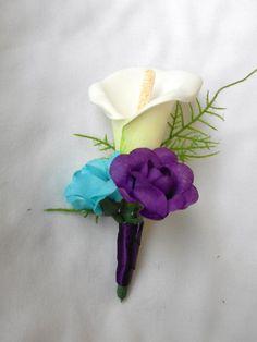 Silk Turquoise Malibu blue and royal purple wedding set 17