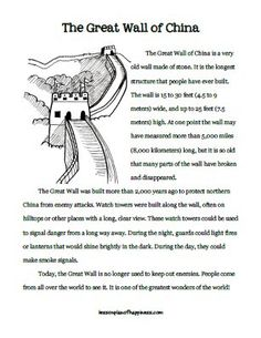 Reading printable about the Great Wall of China. Use for IEW writing as well. - Reading printable about the Great Wall of China. Use for IEW writing as well. Reading printable about the Great Wall of China. Use for IEW writing as well. 6th Grade Social Studies, Teaching Social Studies, Teaching History, History Class, Reading Lesson Plans, Reading Lessons, China For Kids, Around The World Theme, Great Wall Of China