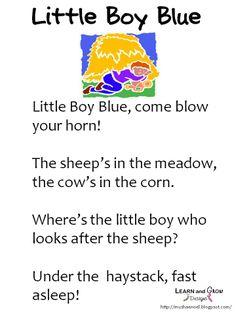 Little Boy Blue Nursery Rhyme Learn And Grow Designs