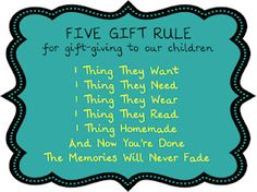 Five gift rule for gift-giving to our children (from Birthing Me)