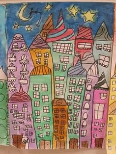 A great watercolor project for upper grades. Love the windows and the slanted buildings. Great idea for my italian students! :) Just need to throw in some clothes lines! Art Courses, Art Lessons, Cityscape, Arts And Crafts For Kids, Watercolor Projects, Cute Art, Art, Childrens Art, Art And Architecture