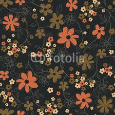 The repeat design of an floral pattern Color Brown