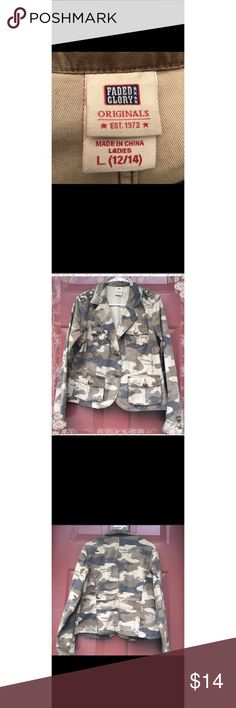 Faded Glory Desert Camo Blazer Large Desert Camo Blazer Fitted Waist. New Without Tag. Never Worn. Large 12/14 Faded Glory Jackets & Coats Blazers