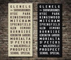 Glenelg tram banner $46.00–$693.00 This is a vintage reproduction tram scroll of the original 1950s end-of-the line bus & tram routes. The tram & bus destination art print is available in both beige and black as standard. All stops from Glenelg to Prospect via Kensington Gardens tram & bus scroll.  http://www.canvasprintsaustralia.net.au/  #photosoncanvas #Canvasprints #Canvasprinting