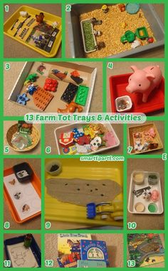 """Celebrate the farm in tot school! Our Farm Tot Trays include 13 activities for 2.5 year olds to learn in tot school homeschool like """"feeding"""" farm animals!"""