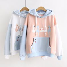 Cute kawaii cat embroidery hoodie pullover SE10466