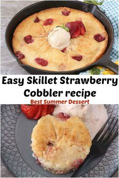 This Skillet Strawberry Cobbler recipe is a classic Southern dessert. Easy Strawberry Cobbler recipe bakes into a thick, Sweet but bit tart, fresh strawberry layer topped with a cake like topping and Comes together in no time, takes 5 minutes!! It's a simple Fresh Strawberry Dessert. I am totally in love with this cobbler. #summerdessert #easydessert #eggless, #partydessert #onepotdessert #freshstrawberries #healthydessert #bestcobbler #skilletstrawberrycobbler #easycobblerrecipe