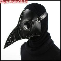 Steampunk Faux Leather Negro Peste bubónica Médico Medieval de la Muerte de Aves Pico Largo Máscaras Máscaras de Halloween Disfraces de Carnaval