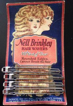 Vintage Nell Brinkley Hair Wavers for Finger Waves Original Package Patent 1922