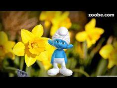 Rosen, Tulpen, Nelken... Schlumpf von der Schlümpfe Familie Zoobe deutsch Frühling