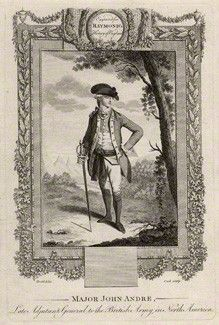 John Andre by Cook, after Daniel Dodd line engraving, published 1787 or after 9 7/8 in. x 6 5/8 in. (252 mm x 167 mm) plate size; 11 1/4 in. x 7 5/8 in. (287 mm x 195 mm) paper size Purchased with help from the Friends of the National Libraries and the Pilgrim Trust, 1966. National Portrait Gallery London.