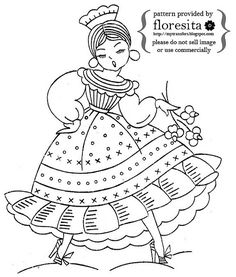 Vintage embroidery pattern- senorita in dress