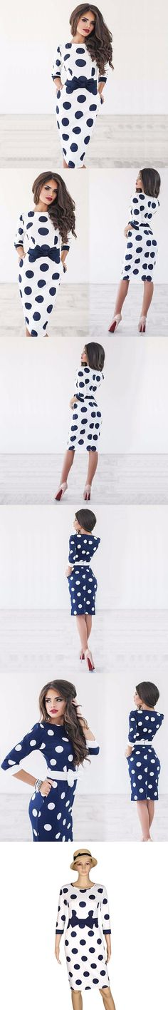Party Dresses Women Bodycon Polka Dot Half Sleeve Casual Elegant Dress Plus Size Vestidos  LJ9219M