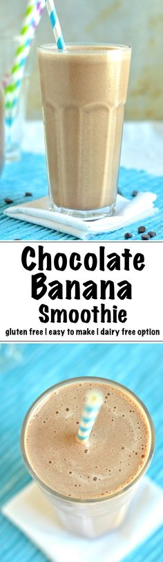 "A tasty chocolate banana smoothie recipe made gluten free and dairy free possible with bananas, milk, cocoa powder and honey. Like a chocolate milkshake - but better! Get the recipe now! | <a href=""http://nourishedtheblog.com"" rel=""nofollow"" target=""_blank"">nourishedtheblog.com</a> 