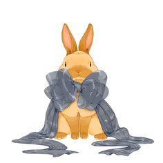 リボンをかけて/らいらっく Cute Food Drawings, Cute Animal Drawings, Animal Sketches, Kawaii Drawings, Bunny Art, Cute Bunny, Bunny Drawing, Rabbit Illustration, Rabbit Art