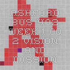 ASHFORD BUS 402 Week 1 DQ 2 Vision and Mission