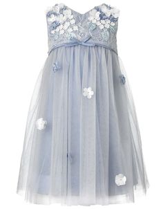 Baby Lilly Flower Dress | Blue | Monsoon - in infant and toddler sizes