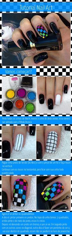 Tutorial de nail art / unha decorada quadriculada
