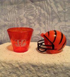 NFL MINI PLASTIC HELMET (2010) & NFL Plastic SHOT CUP (2009) Cincinnati Bengals #CincinnatiBengals