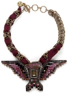 Lanvin Red Crystal Embellished Eagle Necklace