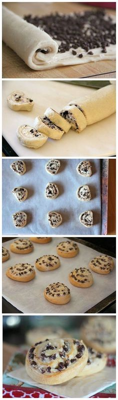Chocolate Chip Cream Cheese Breakfast Cookies INGREDIENTS: 1 can seamless crescent rolls 1 oz) block cream cheese, room temperature cup sugar 2 tsp vanilla cup mini chocolate chips Instr… Yummy Treats, Delicious Desserts, Sweet Treats, Yummy Food, Tasty, Healthy Food, Cream Cheese Breakfast, Cookie Recipes, Dessert Recipes