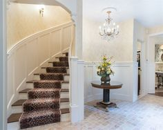 Entrance hallway & staircase of luxury home in Armonk, New York