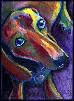Painting, Dachshund - Puppy Blue Eyes 2.  ACEO 2.5 x 3.5 in Acrylic #art #puppy #doxie #dachshund