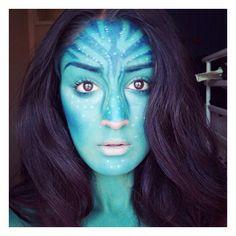 A stunning makeup tutorial inspired by the blockbuster Avatar. | #Halloween #Makeup
