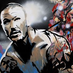 "Randy Orton l Acrylic, spray and oil on 24"" x 24"" wood"
