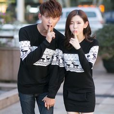 b2519799f5 Online Shop Christmas Sweater 2015 Fashion Winter Men s Women Long Sleeve  Crewnecks Pullovers Matching Deer Couple