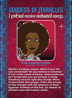 """African Goddess #Affirmation Cards: The #Goddess of Miracles! """"I give and receive enchanted energy."""" Yes!"""