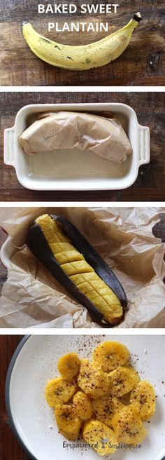 One-step sweet baked plantains (paleo). Top with coconut oil and cinnamon for a treat, or  serve with slow-cooked meats.