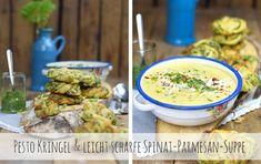 Kleine Hefeteig-Pesto-Kringel und dazu Spinat Suppe mit Parmesan