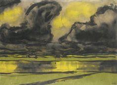 Emil Nolde (German, 1867-1956), Marschlandschaft mit dunkelen Wolken [Marsh landscape with dark clouds], 1920. Watercolour on Japan paper, 34.9 x 47.8cm.