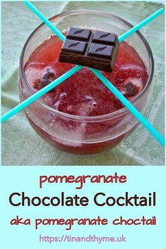 A lush chocolatey fruity drink that's a bit more fun than your average cocktail. Easy Drink Recipes, Best Cocktail Recipes, Drinks Alcohol Recipes, Yummy Drinks, Dessert Recipes, Alcoholic Beverages, Pomegranate Cocktails, Fruity Cocktails, Easy Cocktails