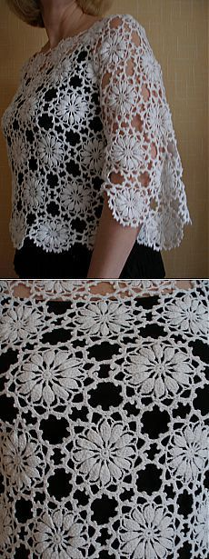 "Мои работы. Любимая белая кофточка мотивами.. [   ""Posts on the topic of Neriniai added by Dalia Zekiene"" ] #<br/> # #Crochet #Wraps,<br/> # #Flower #Crochet,<br/> # #March,<br/> # #Shawls,<br/> # #Posts,<br/> # #Knitting,<br/> # #Tissue,<br/> # #Shirt,<br/> # #Boleros<br/>"