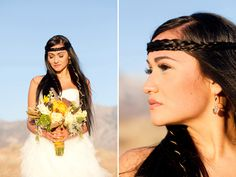 Native American inspired wedding - Gorgeous!  The woman in these photos is like a real life version of the animated Disney Pocahontas - who I totally wanted to look like when I was younger!