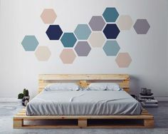 Geometric Wall ART, Removable Wall Sticker. Fabric Self Adhesive Sticker, DIY Home Decor, Scandinavian Interior Design.