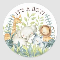 Shop Sweet Jungle Animals It' a Boy Favor Sticker created by invitationstop. Baby Shower Party Supplies, Baby Shower Favors, Baby Shower Themes, Baby Boy Shower, Baby Shower Decorations, Animal Theme Baby Shower, Shower Centerpieces, Jungle Animals, Baby Animals