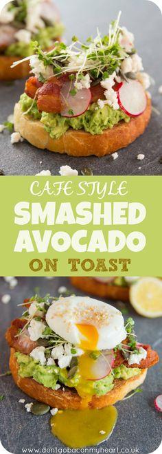 Cafe style smashed avocado on toast