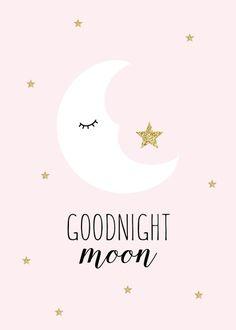 Good Night Moon Print Pink | Ginger Monkey Kids Prints & Wall Decals
