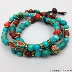 Unisex elastic strung Turquoise, Coral, gold-tone Hematite, Wood beads, and inlaid Gemstone chip Brass charm beads. Finished with Leather cord • One Size • Set of 3