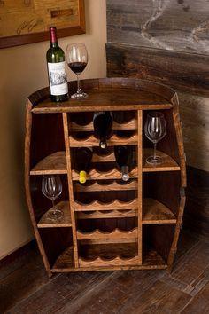 Wine Barrel Bottle Cabinet and storage wine rack - home furniture, wine rack Whisky Regal, Corner Bar Cabinet, Corner Wine Rack, Barrel Projects, Wine Barrel Furniture, Diy Casa, Wine Decor, Wine Storage, Wine Cabinets