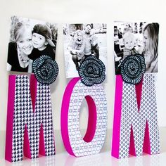 """Oh how I love the cheerful photo display my friend from """"Blue I Style"""" Blog created for Mother's Day!"""