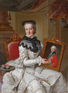 Johann Georg Ziesenis (1716-1776) —  Portrait of Juliana Maria of Brunswick-Wolfenbüttel with a portrait of her son Hereditary Prince Frederick, 1766-1767   :   Museum of National History at Frederiksborg Castle, Hillerød. Denmark   (1042×1426)