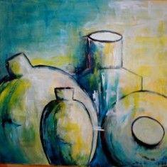 Bilder von Rosa | Acrylbild Vier Krüge Format : 60 x 80 x 2 cm Acrylmalerei: Wandbild, Dekoration, Gemälde, Stillleben , Kunst, Art , Acrylbild