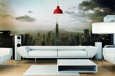 Wallpaper Skyscape by Izoa. Toile Design, Tableau Design, New Room, Wall Mural, Decoration, Photos, Couch, Wallpaper, Furniture