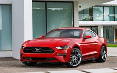 Download wallpapers Pony Package, 2018 cars, 4k, Ford Mustang, supercars, red Mustang, Ford