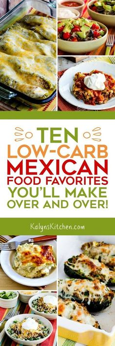 Cinco de Mayo is coming up soon, so here are 10 Low-Carb Mexican Food Favorites you'll make over and over! Pick one of these for a Mexican feast thats still low in carbs! [found on KalynsKitchen.com] #LowCarb #Keto #MexicanFood #LowCarbMexicanFood #LowCarbMexicanFoodRecipes #MexicanFoodRecipes